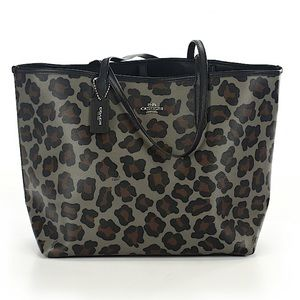 Coach Carryall City Leopard Large Gray Tote